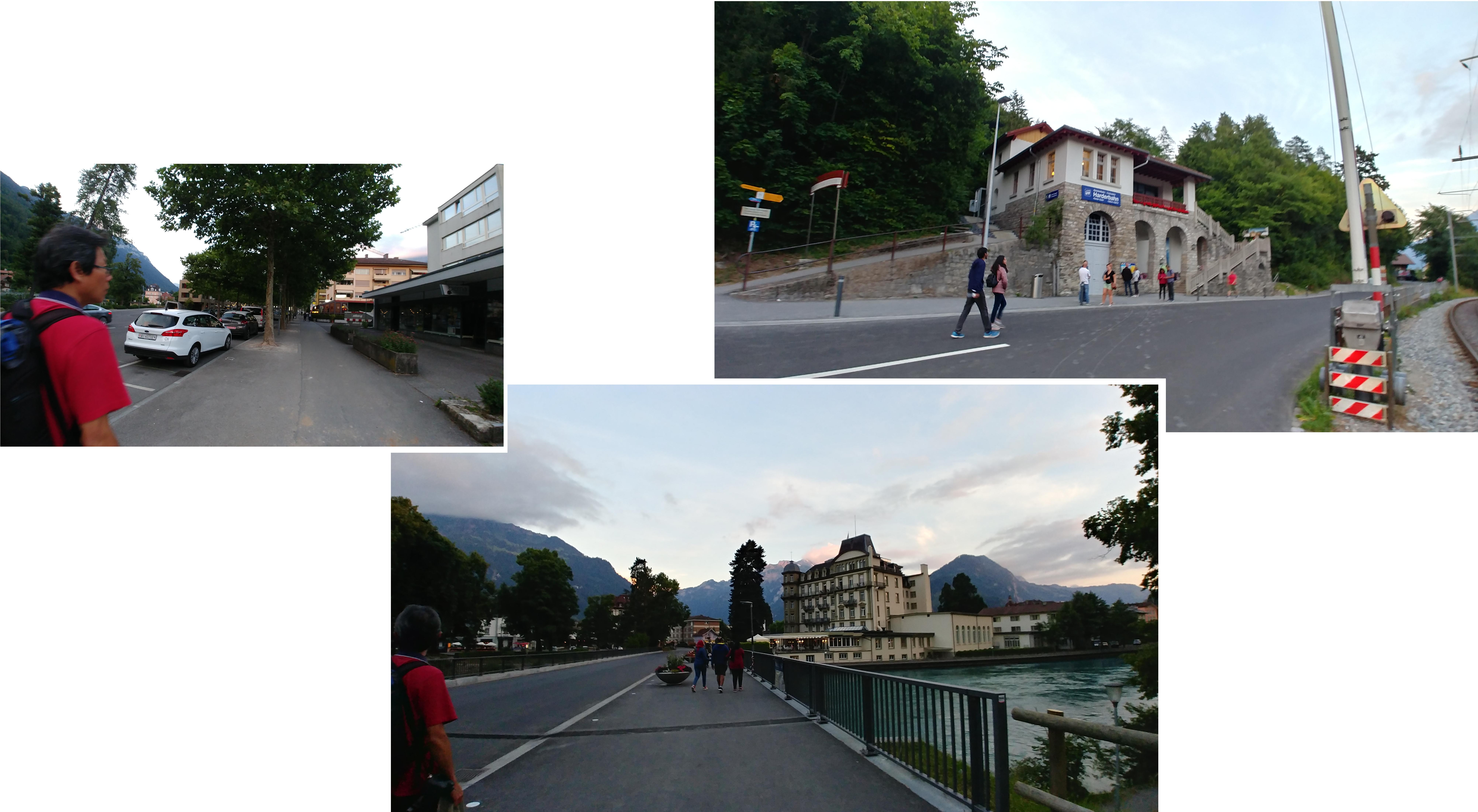 Parked our car before crossing the river to Harder Kulm station