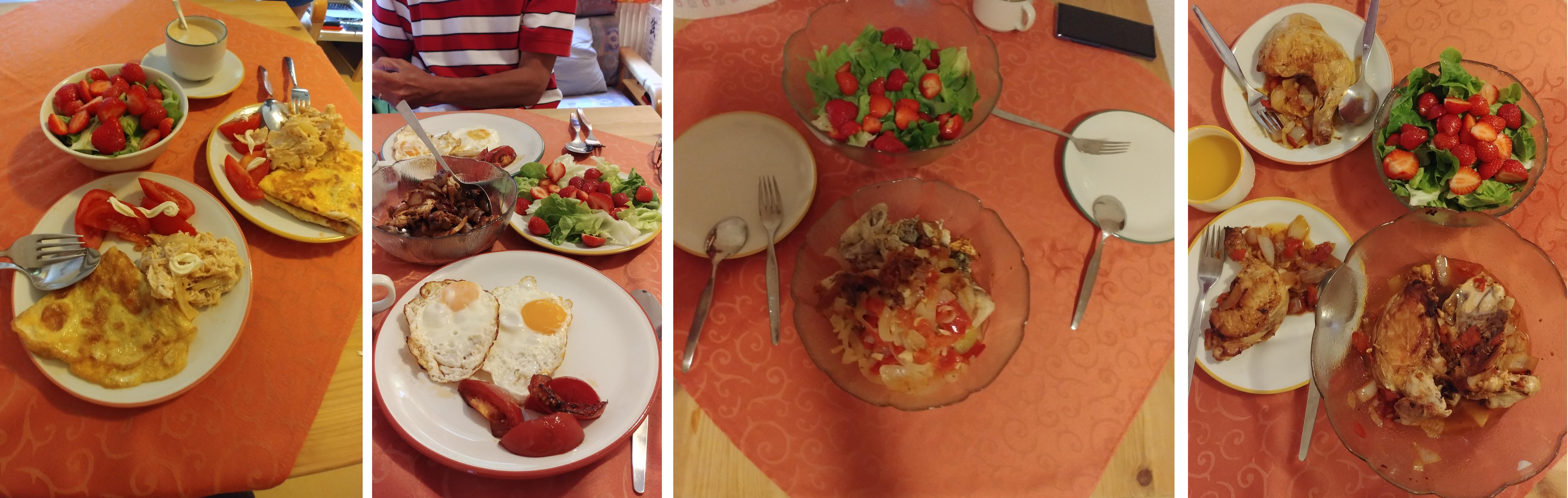 Our home cooked meals at Interlaken stay.