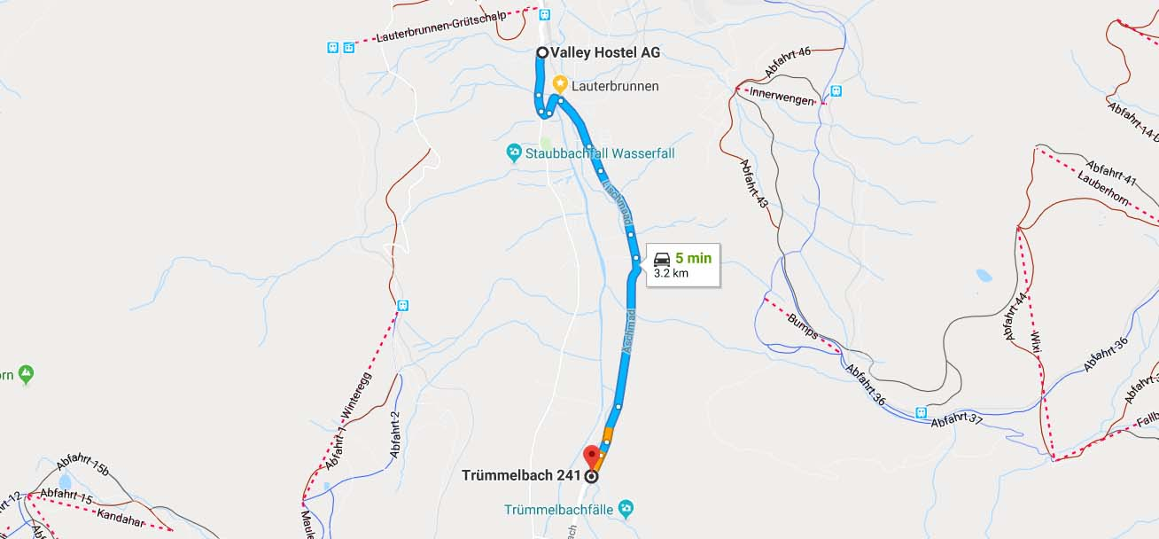 Route to Trummelbach Falls