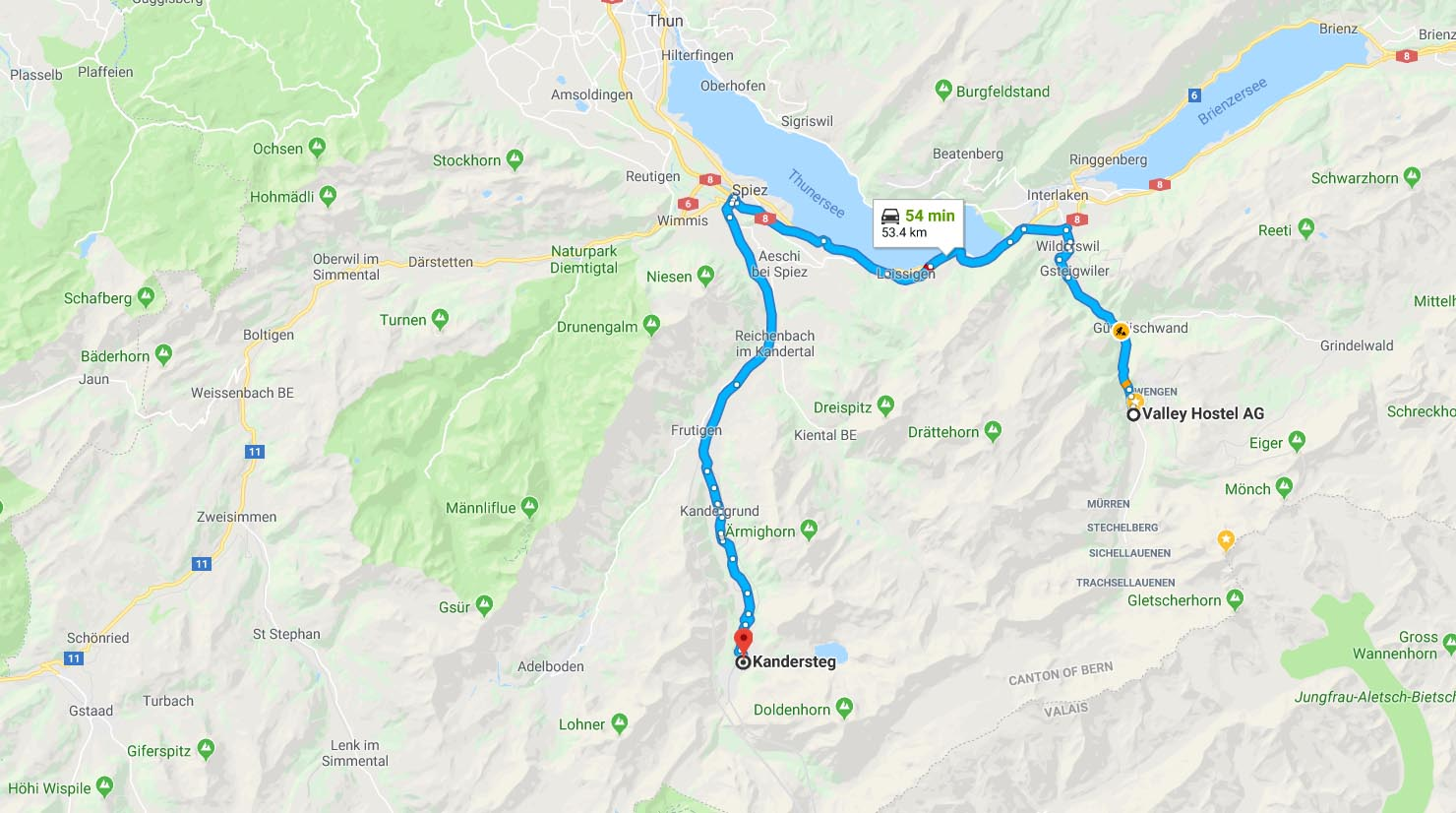 Route from Valley Hostel to start of Lotschberg tunnel