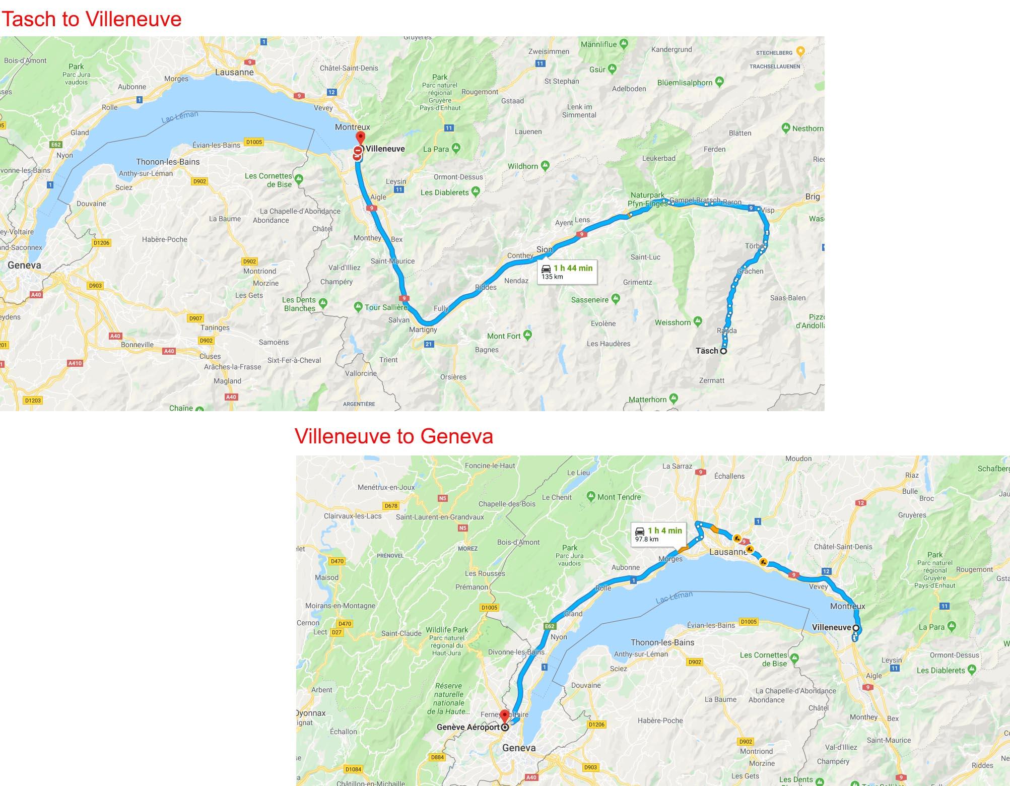 Tasch to Villeneuve to Geneva