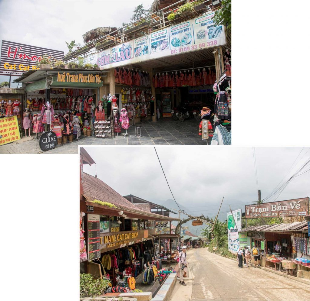 Cafes and shops along the main road