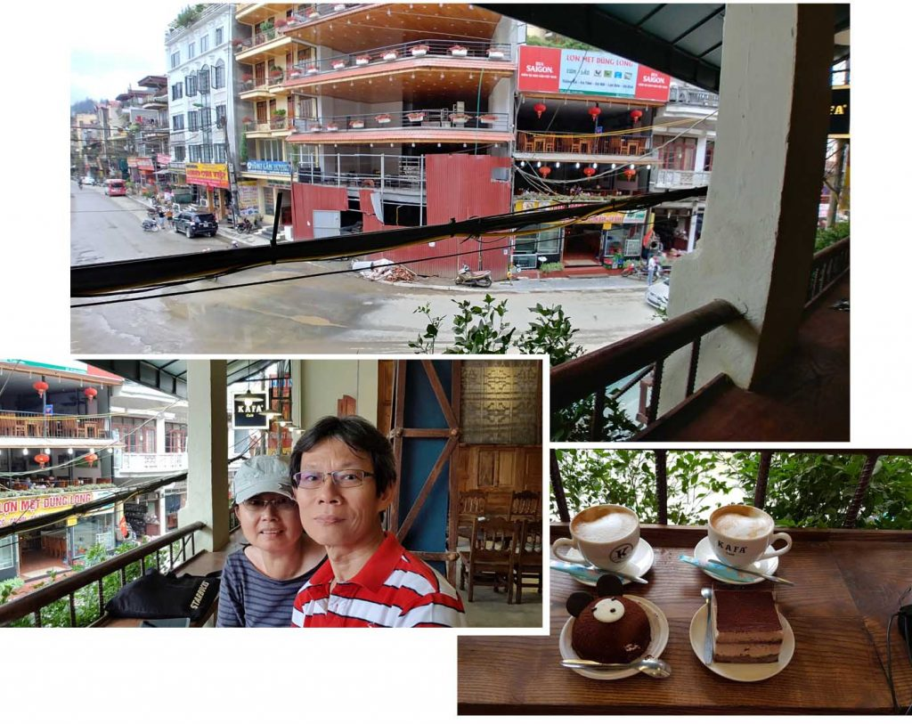 Chocolate cake, tiramisu and cafe latte at KAFA Cafe
