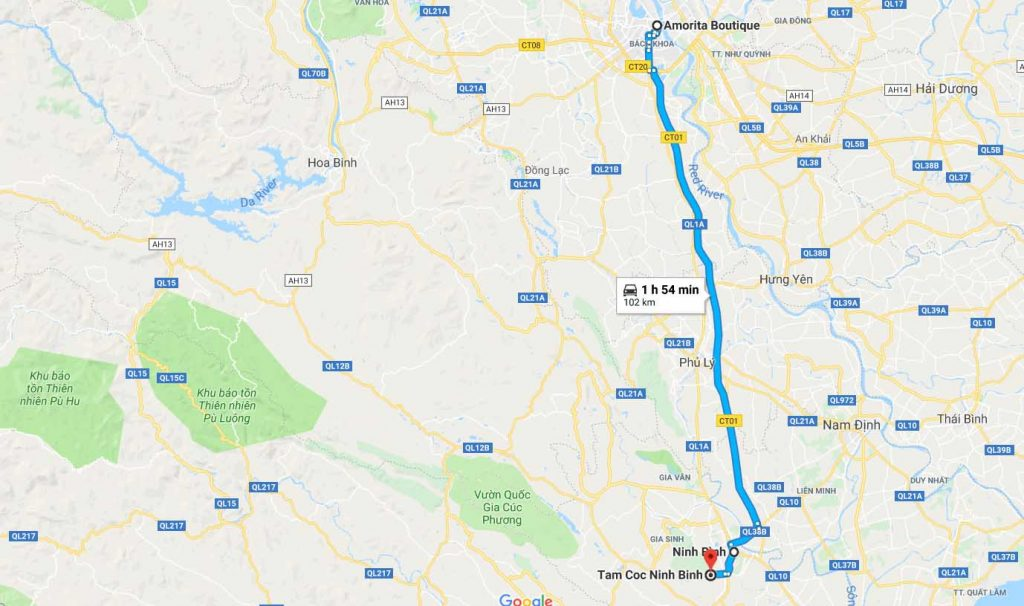 Route from Hanoi to Tam Coc