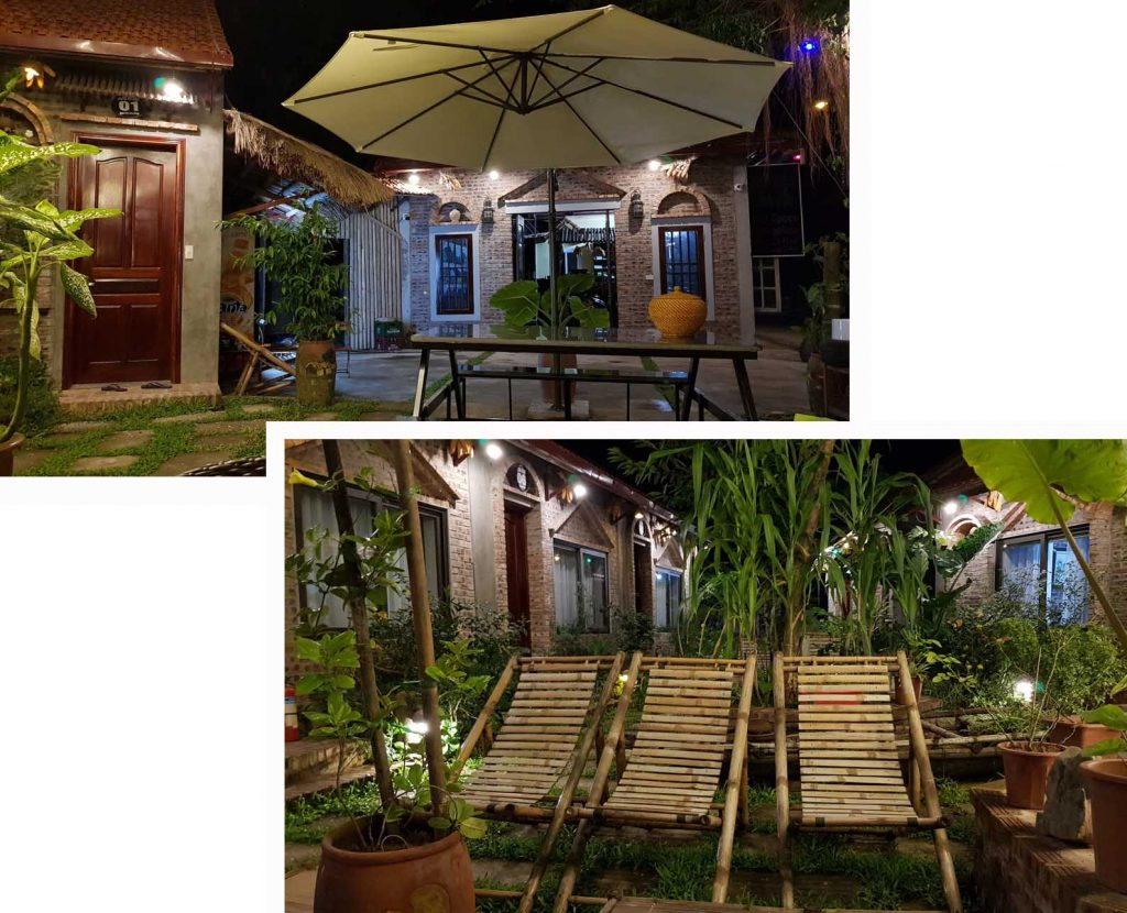 Relaxing outdoor area at Anh Tuan Tam Coc Old Space Bungalows