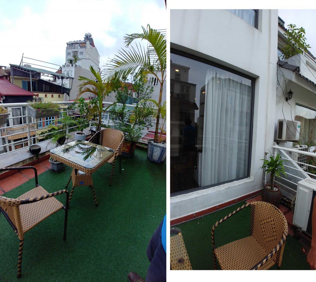 Our private balcony at Hanoi Glance Hotel