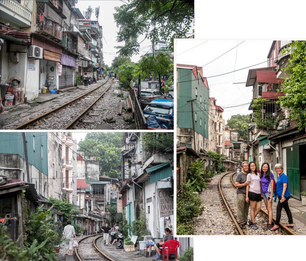 Railway tracks between the houses.