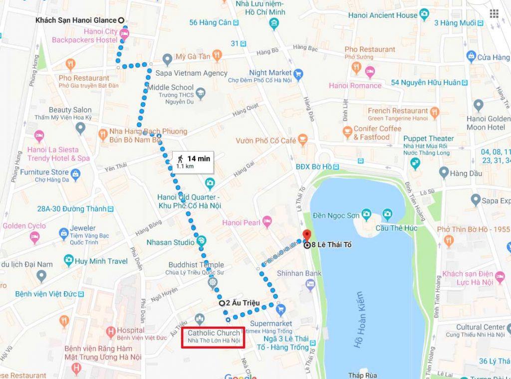 Walking route to Saint Joseph's Church and Hoan Kiem Lake