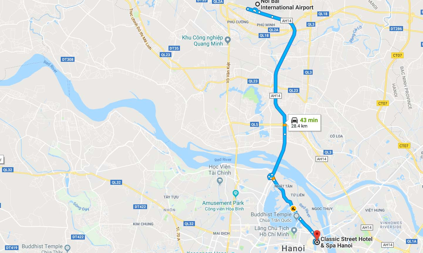 Route from Airport to Hanoi Old Quarter