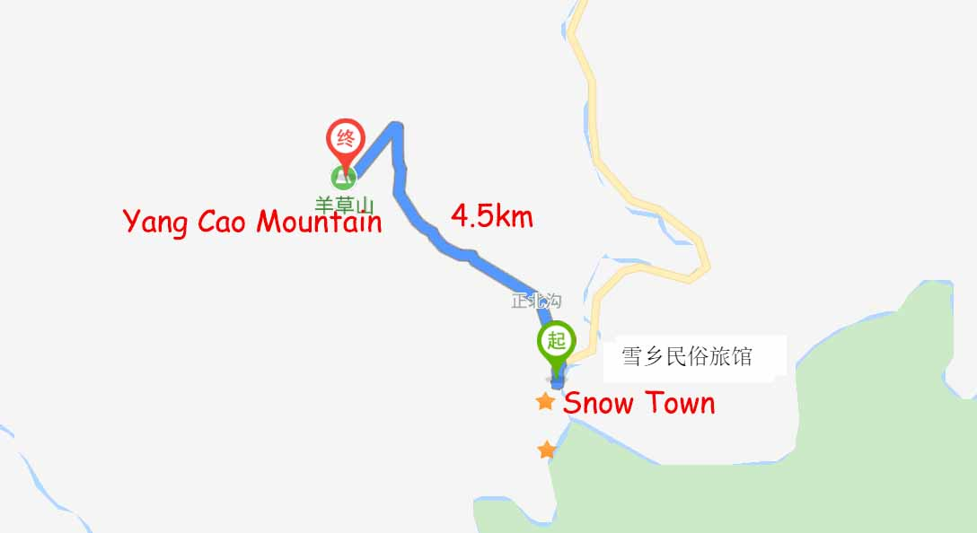 Route from Snow Town to Yang Cao Mountain