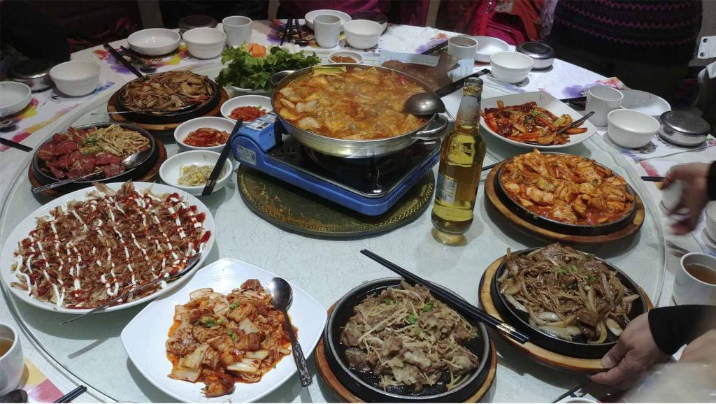 Our Korean dinner in Harbin town