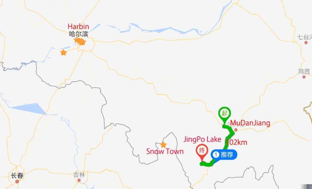 Route to JingPo Lake