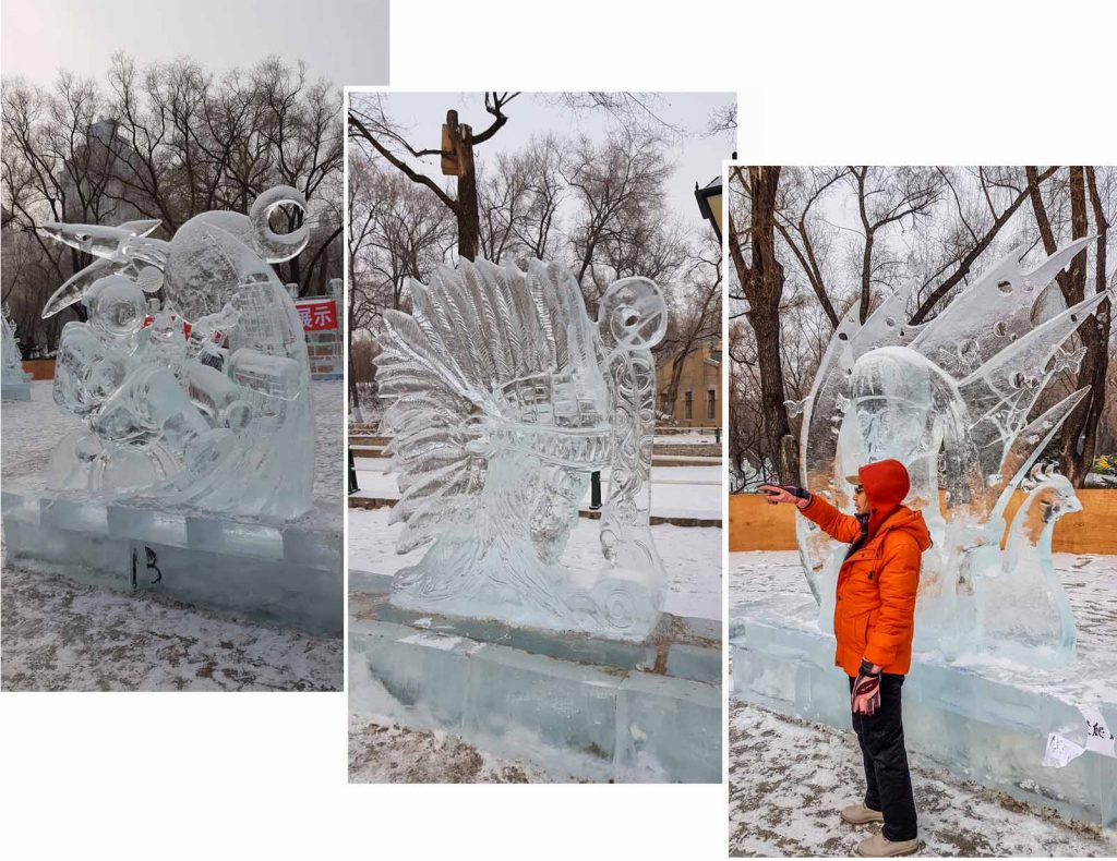 Ice sculptures at ZhaoLin Park