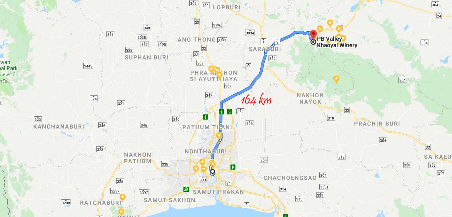 Route from Bangkok to Khao Yai