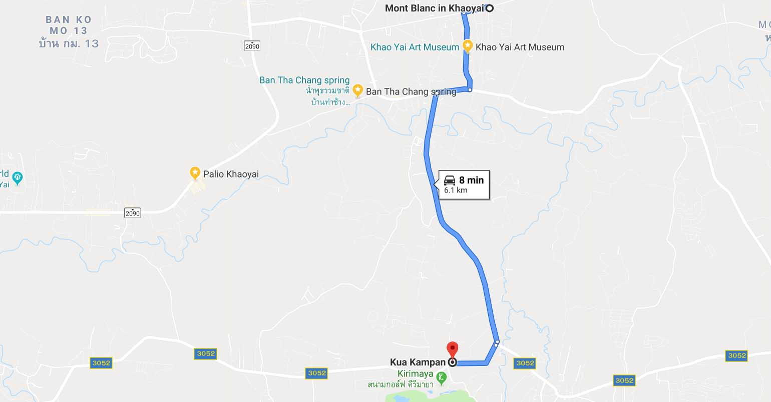 route to Kua Kampan Restaurant