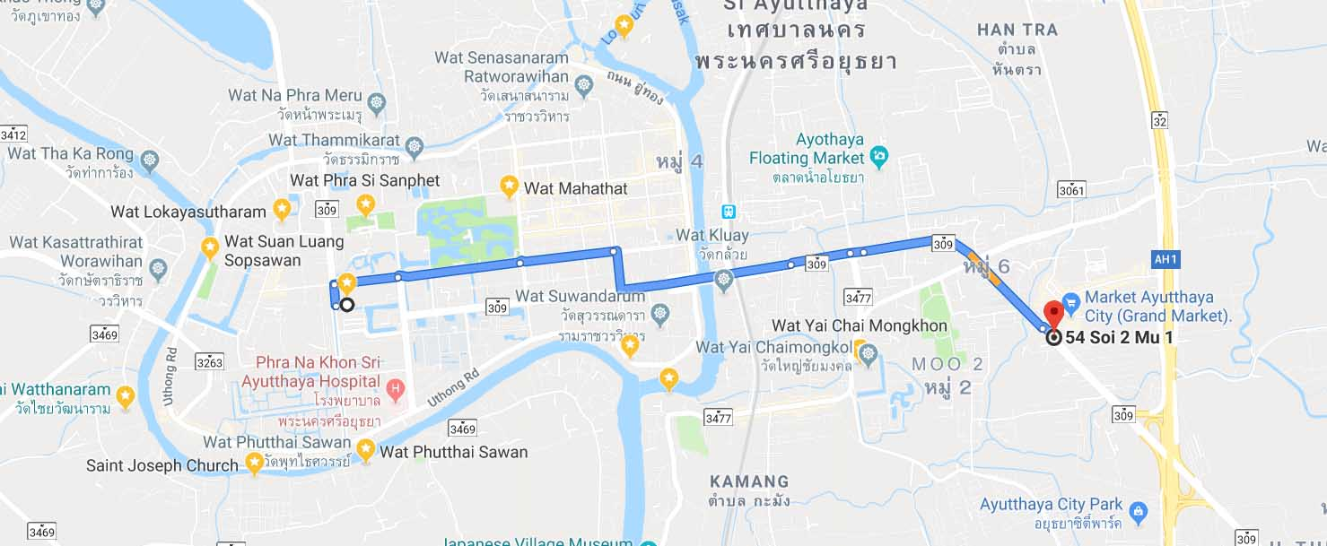 Route to Grand Market of Ayutthaya