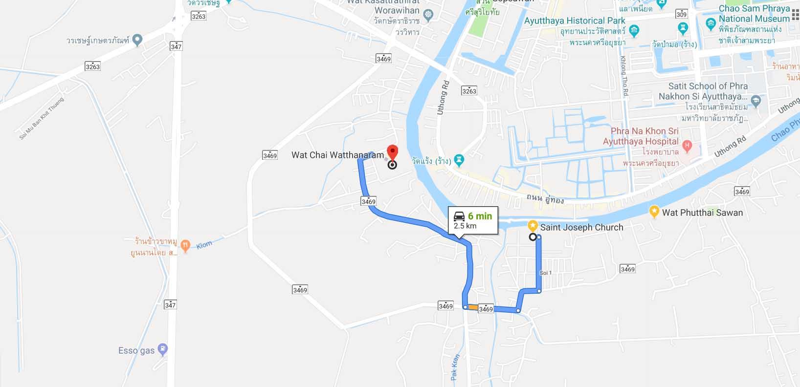 route to Wat Chai Watthanaram