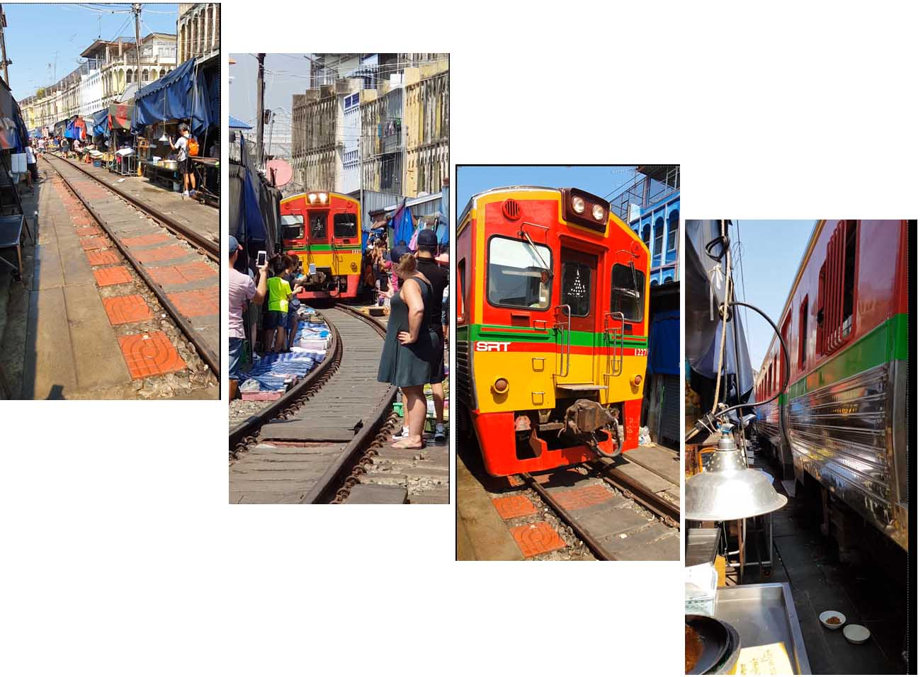 Arrival of the train at Maeklong Train Market