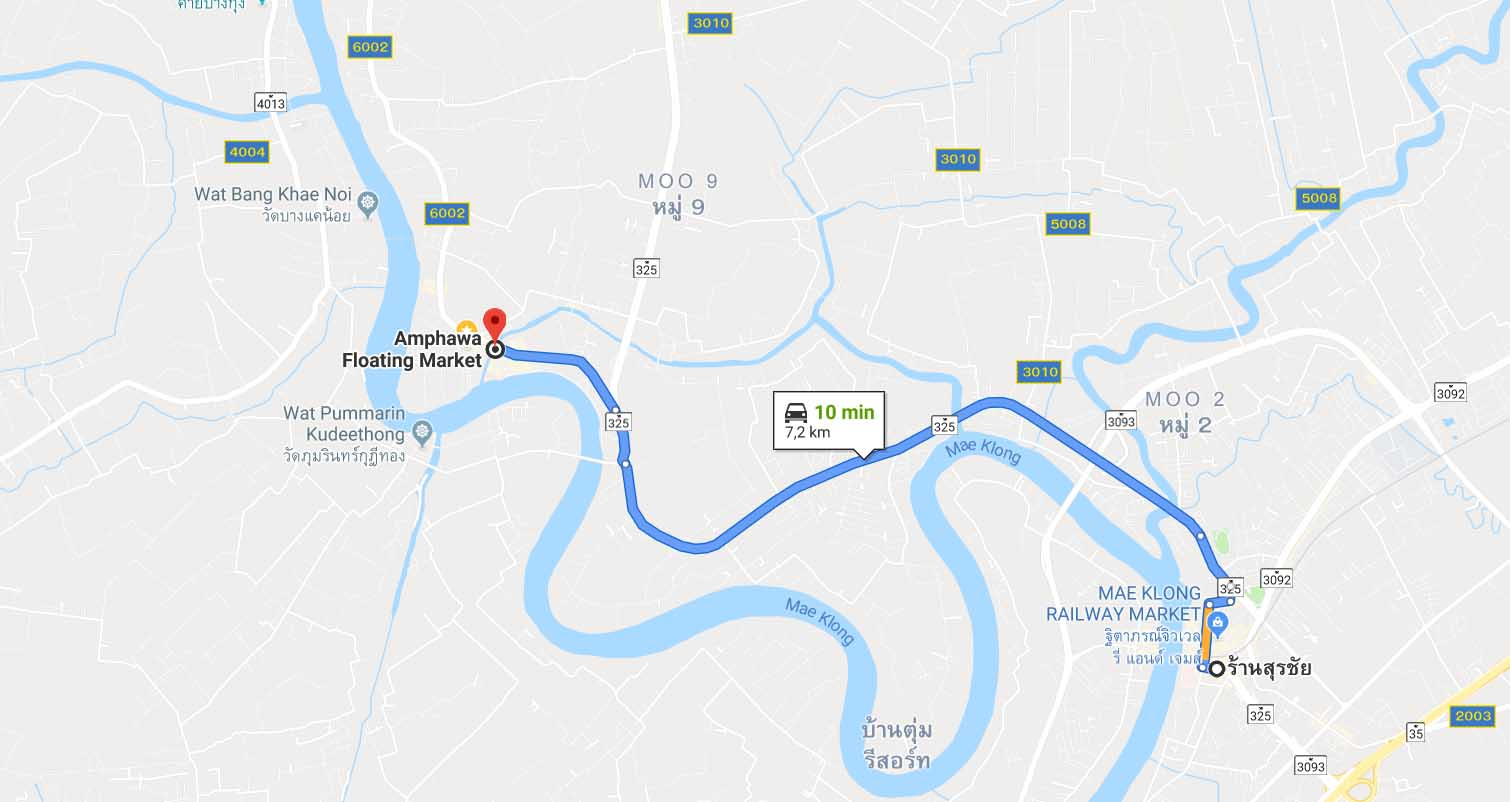 route from Maeklong Train Market to Amphawa Floating Market