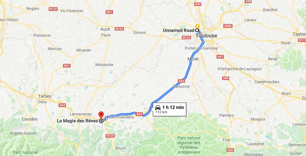 Route from Toulouse to Montrejeau