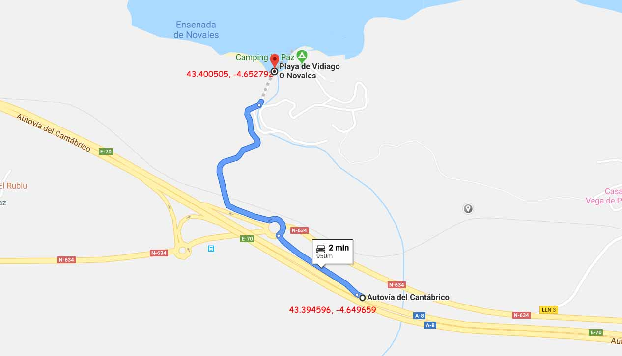 Last km route to Playa de Vidiago