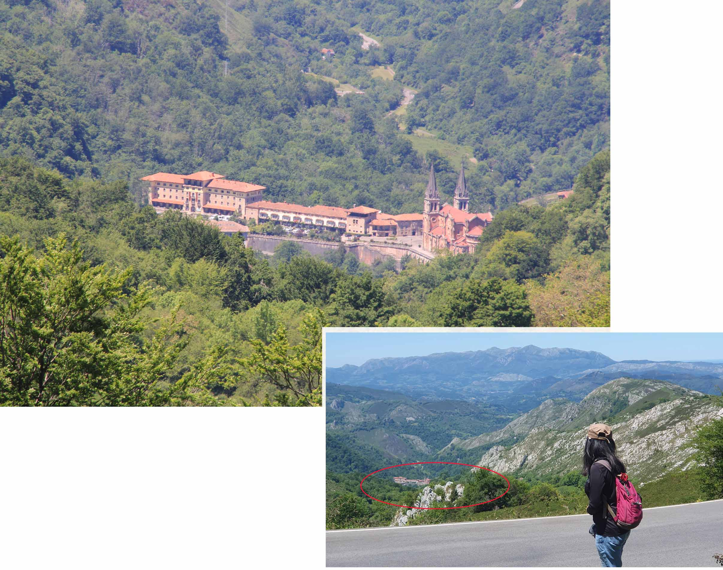 A distance view of the Basilica de Covadonga