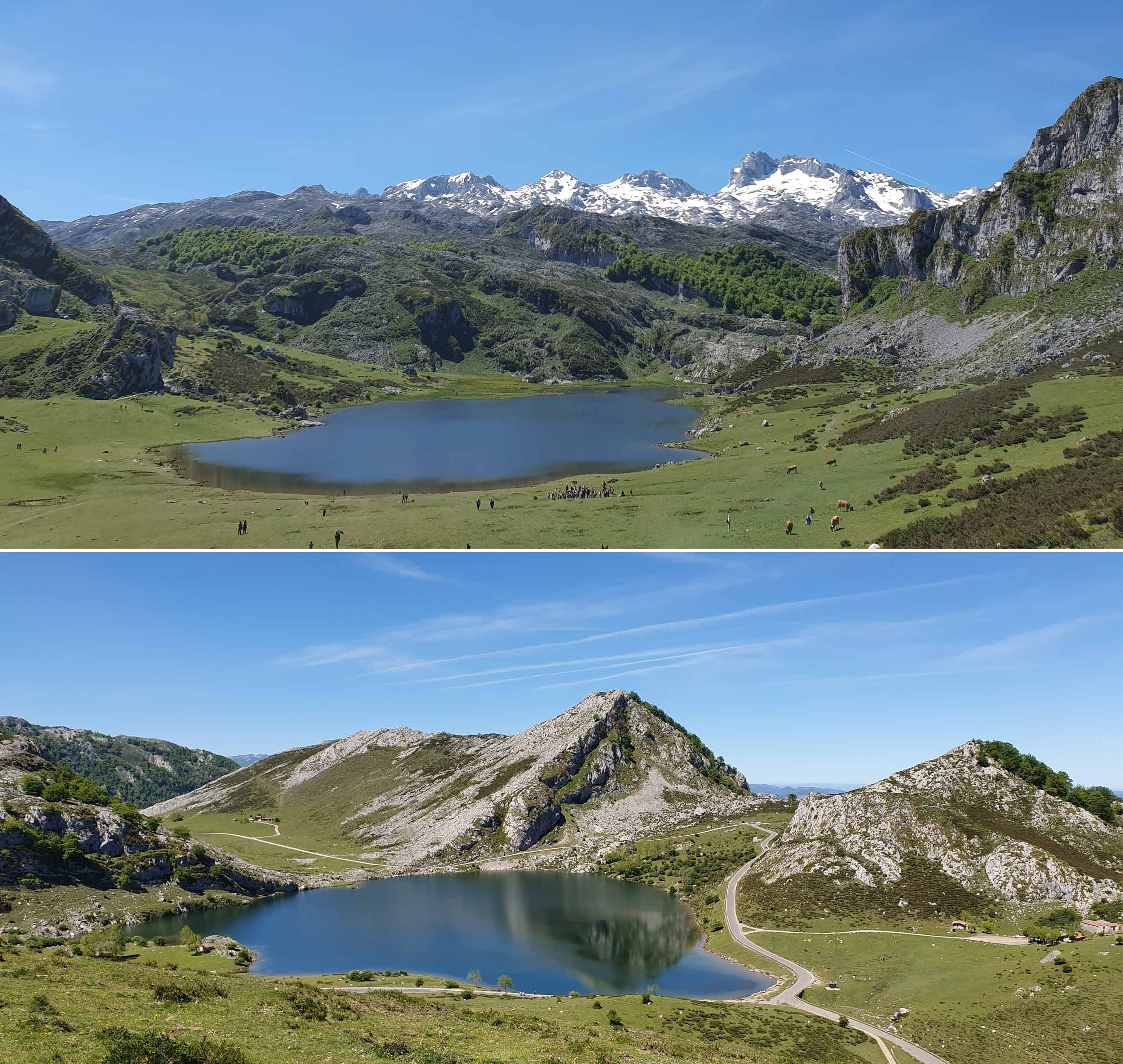 Lake Ercina (top) and Lake Enol (bottom)