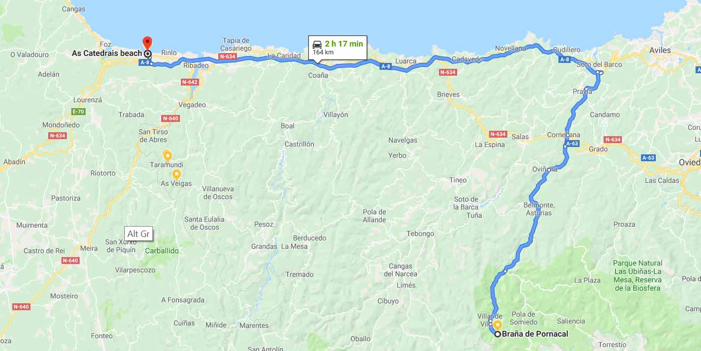 Route from Someido Park to As Catedrais Beach