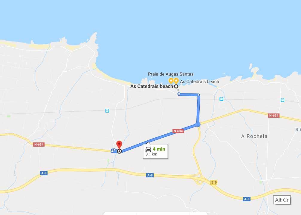 """Route from """"As Catedrais Beach"""" to """"Pensión Casa Elena"""""""