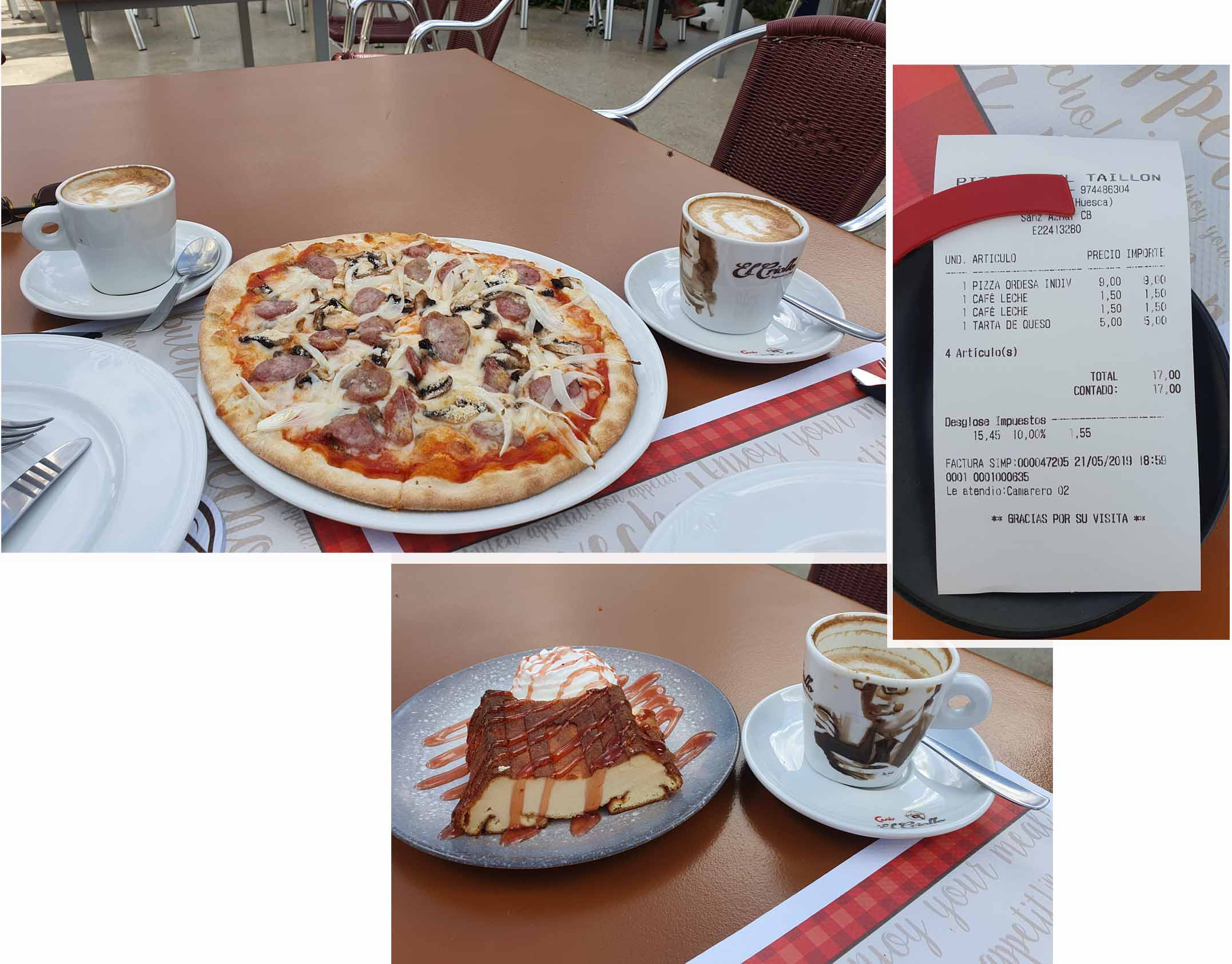 Pizza, cafe latte and desert