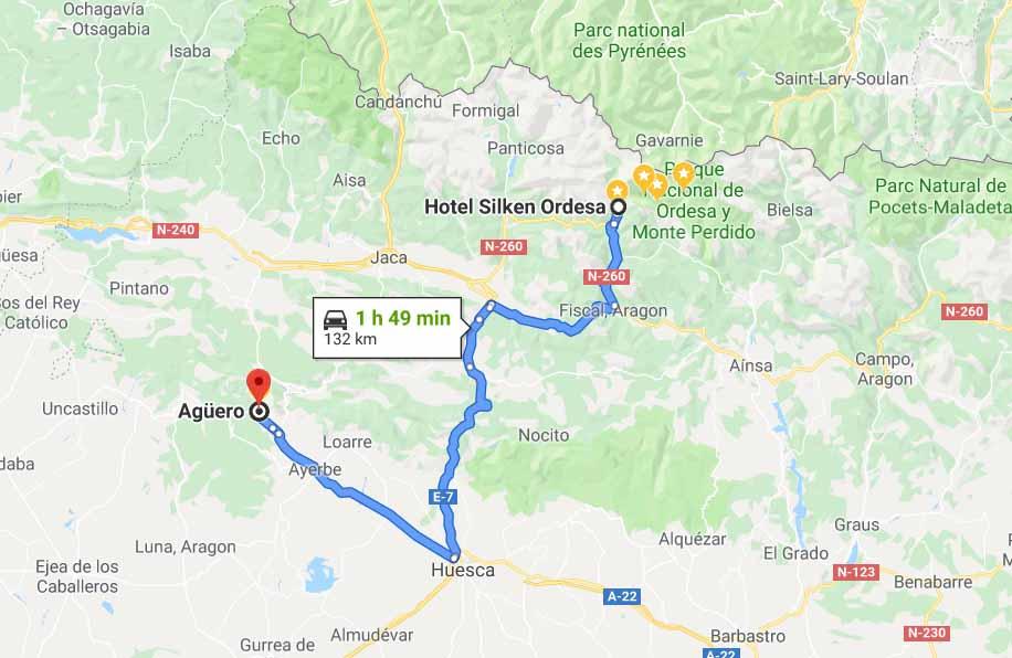 Route for Torla Ordesa to Augero