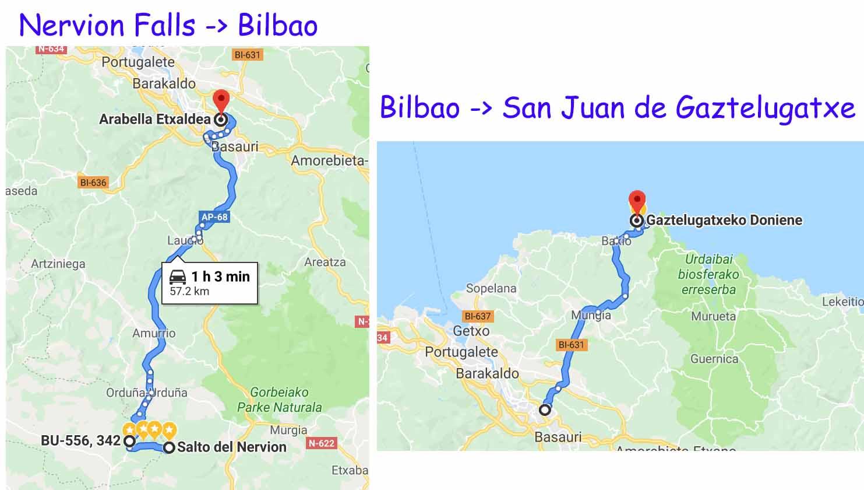 From Nervion Fall -> Bilbao -> Gaztelugatxe