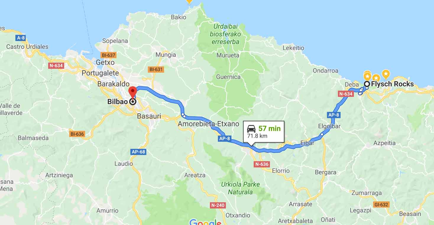 Route from Bilbao to Flysch Cliffs
