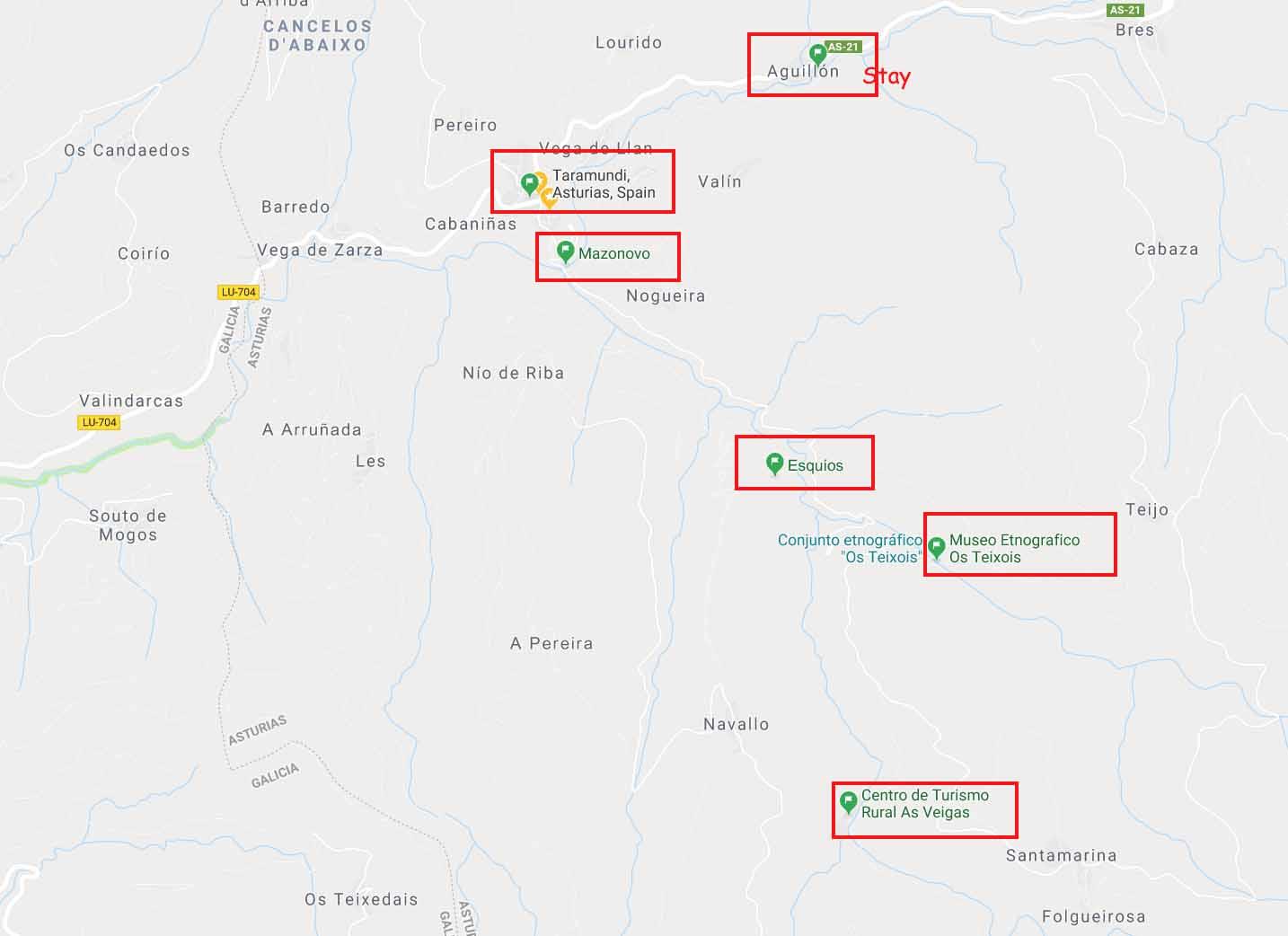 Map of Taramundi and some villages around