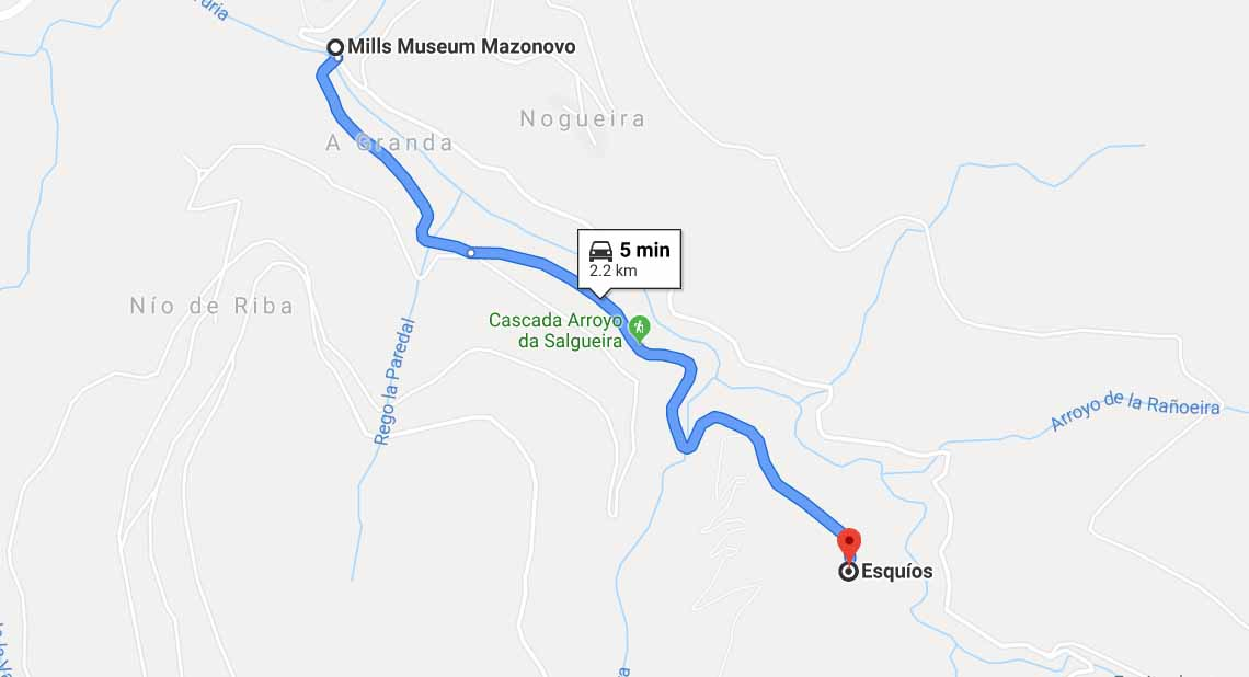 Route from Mills Museum Mazonovo to Esquios