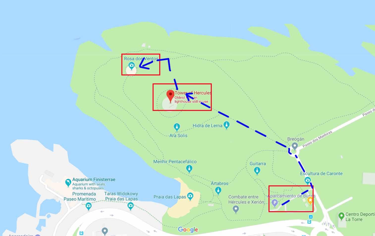 Map near Tower of Hercules