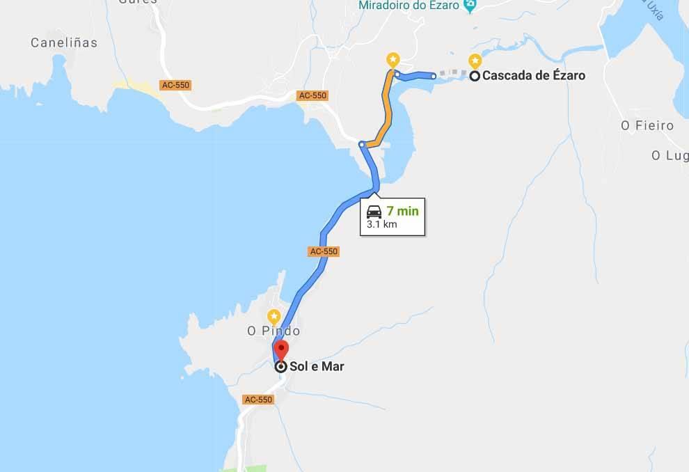 Route from O Pindo to Cascada do Ezaro