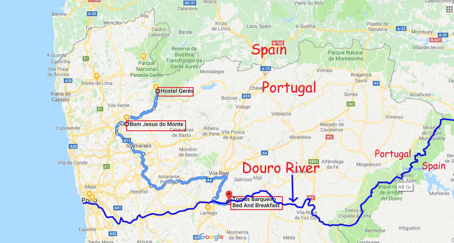 Route from Peneda-Geres National Park to Douro River