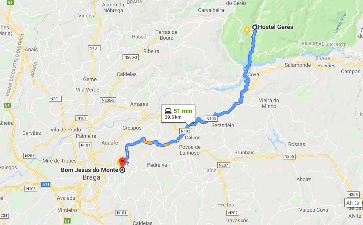 Route to Bom Jesus do Monte