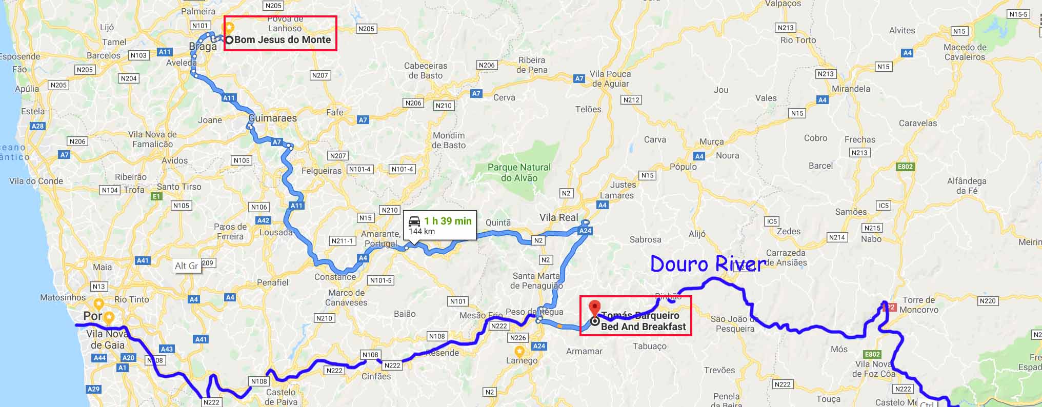 Route from Bom Jesus do Monte to Folgosa