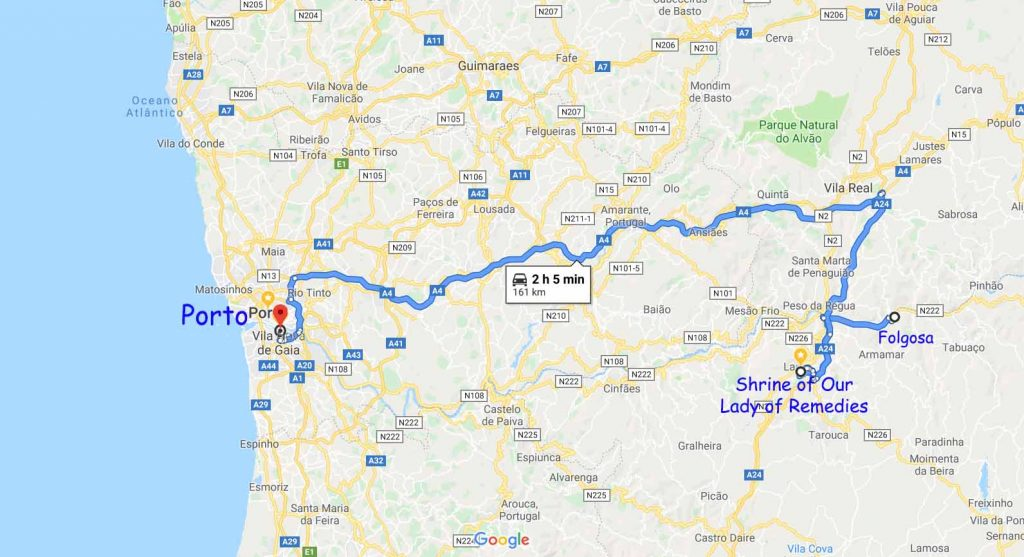 Route from Folgosa to Porto