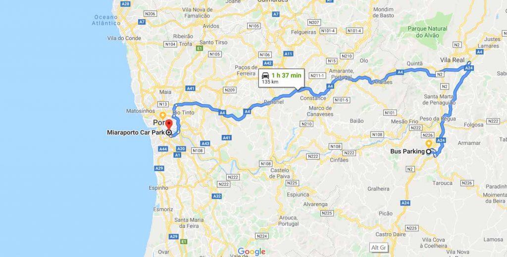 Route to Porto