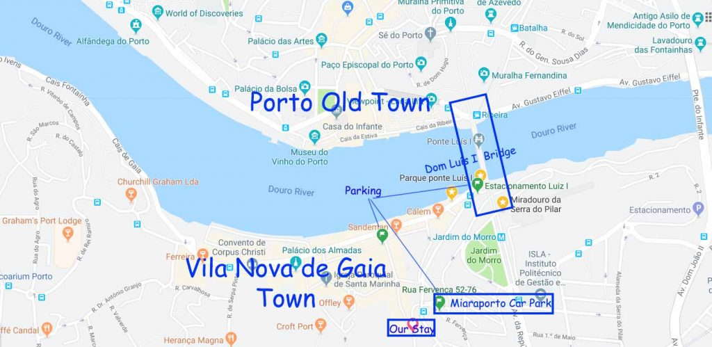 Map of our stay near Porto Old town