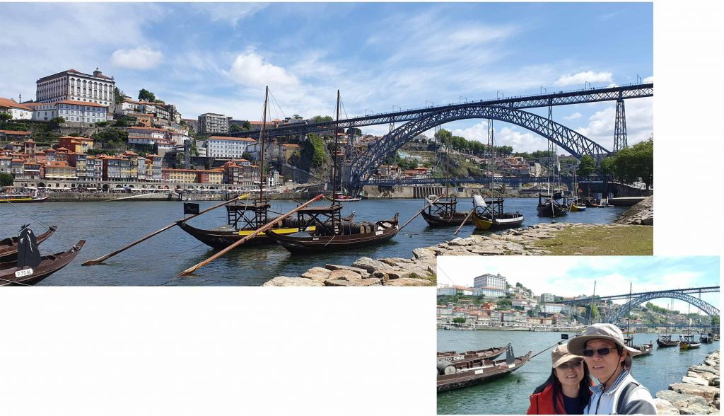 Rabelo boats along Douro River at Porto
