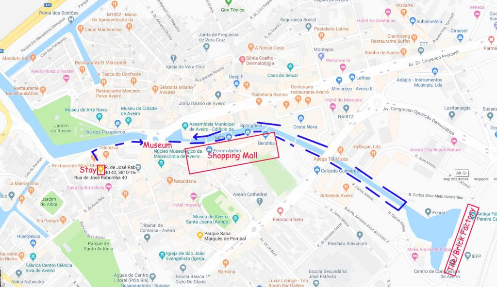 Our walking route along the canal