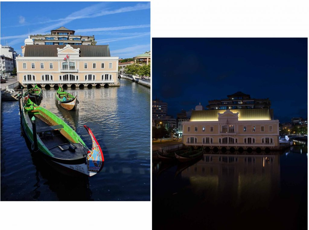 Aveiro Town Hall day and night