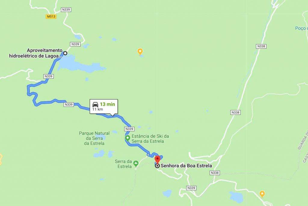 Route from Lagoa Comprida to Senhora da Boa Estrela