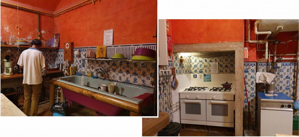 Colourful kitchen but messy and unkempt