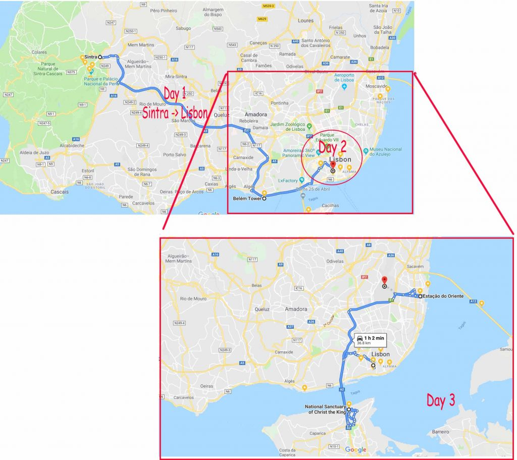 Our routes in Lisbon