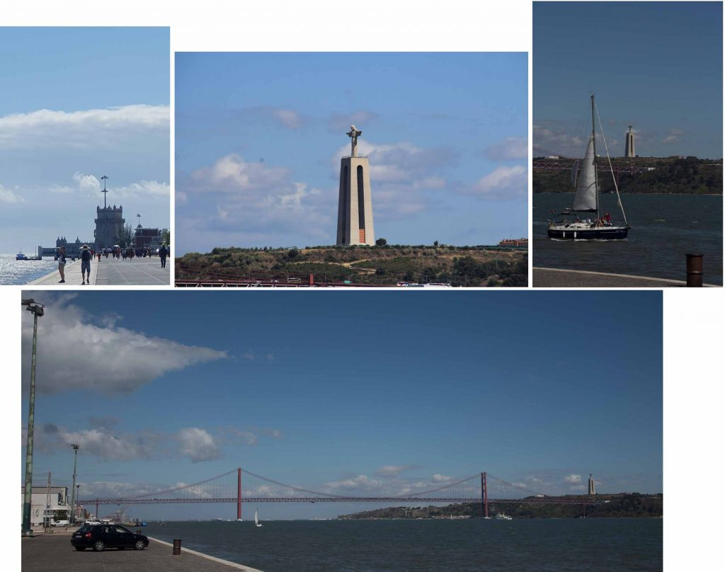 Waterfront promenade, Tower of Belem (top left) and Bridge of 24th April (bottom)